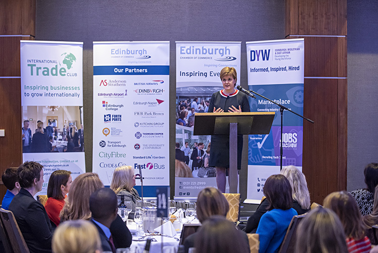 First Minister Nicola Sturgeon addresses Edinburgh Chamber of Commerce Members