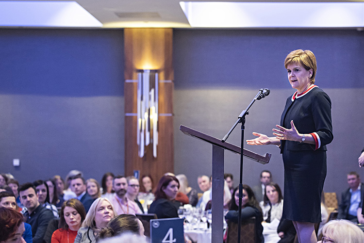 First Minister Nicola Sturgeon answers questions from Edinburgh Chamber of Commerce members