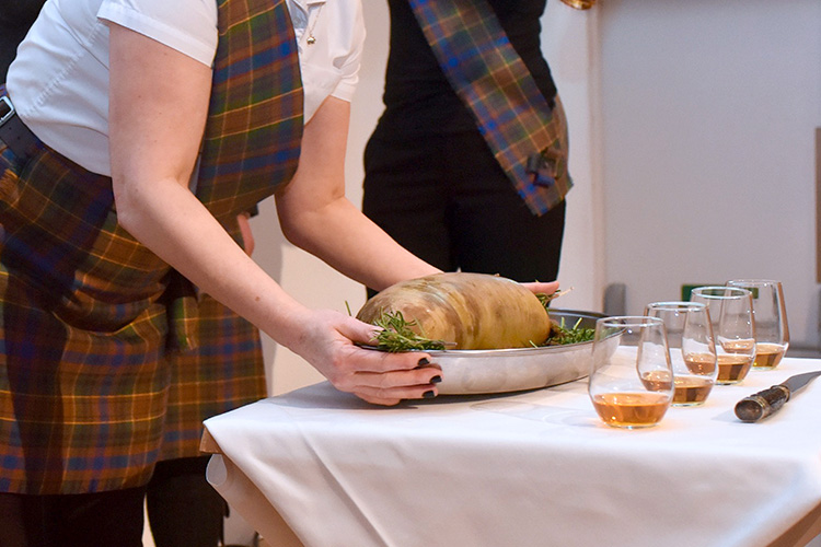 Grassmarket Community Project Burns Supper event photography, the haggis