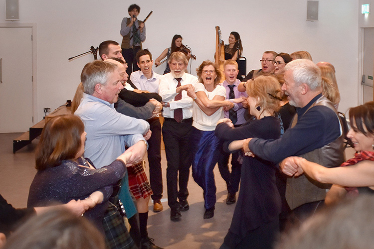 Grassmarket Community Project Burns Supper event photograph, Ceilidh Band and dancing