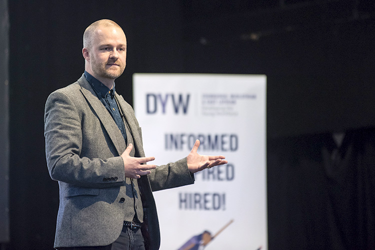 Gavin Oattes from Tree of Knowledge addresses the DYW conferencedeveloping the young workforce conference 2019 event photographs