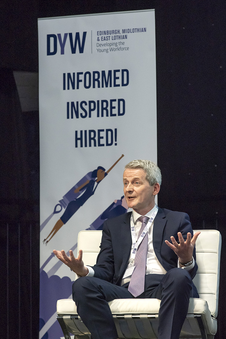 Graeme McEwan, Chief Communications Officer and DYW Regional Chair, Standard Life Aberdeen , developing the young workforce conference 2019 event photographs