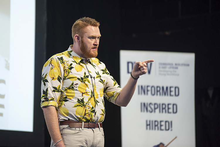 John Loughton dare2lead; developing the young workforce conference 2019; corn exchange edinburgh event photography