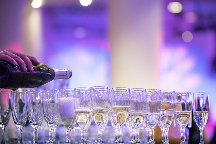 Champagne being poured at The Edinburgh Chamber of Commerce Awards at the EICC, Edinburgh International Conference Centre