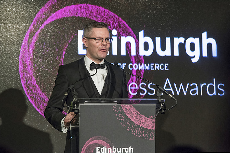 Derek McKay, MSP at the Edinburgh Chamber of Commerce Business Awards, Edinburgh International Conference Centre event photography