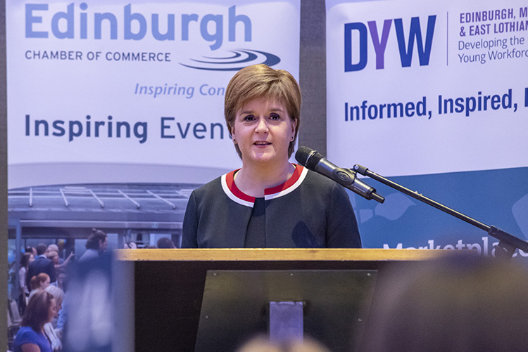 First Minister, Nicola Sturgeon talk to Edinburgh Chamber of Commerce members