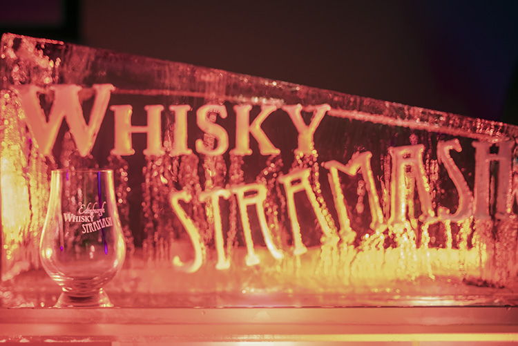 Ice sculpture with whisky glass, Edinburgh Whisky Stramash 2019 event photographs