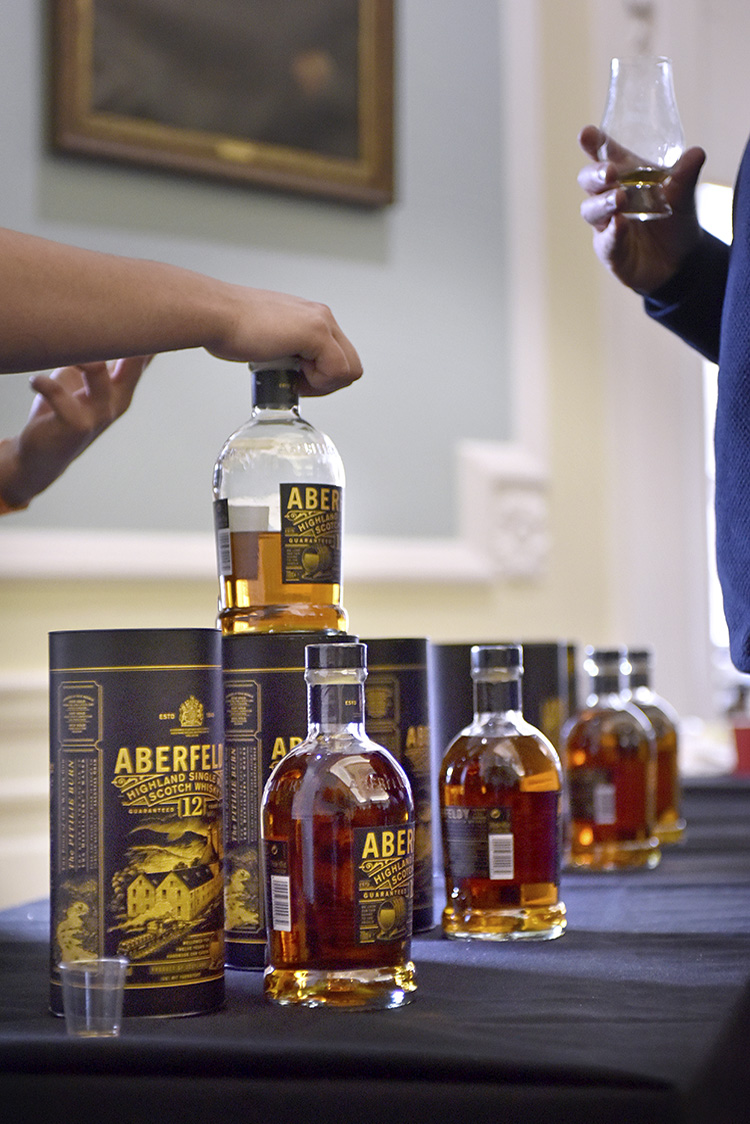 Aberfeldy whisky bottles, Edinburgh Whisky Stramash 2019 event photographs
