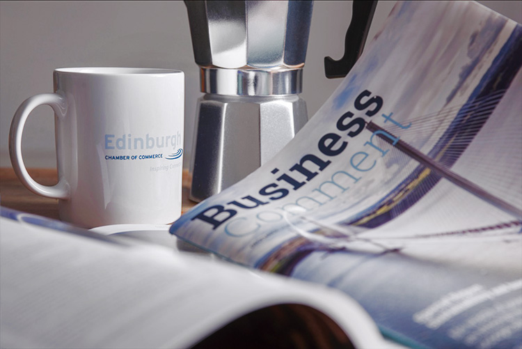 edinburgh chamber of commerce mug and business comment magazine, still life photography, Edinburgh photography studio