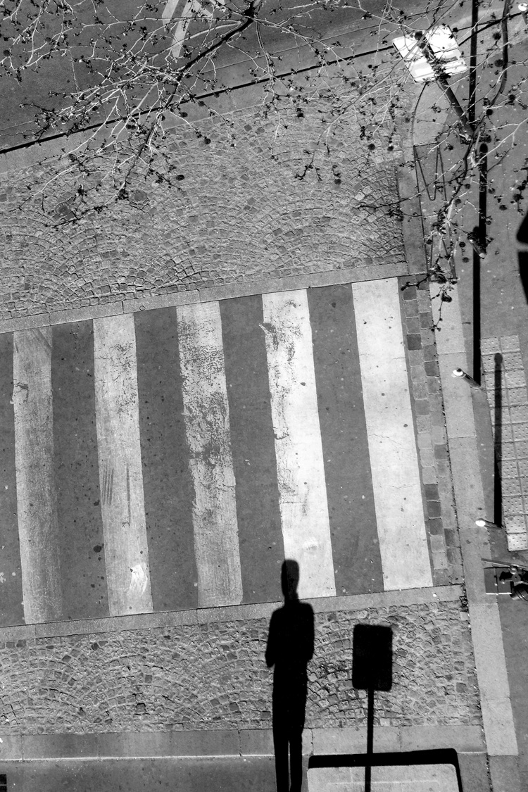 Edinburgh fringe photography exhibition, shadow on crossing, Paris