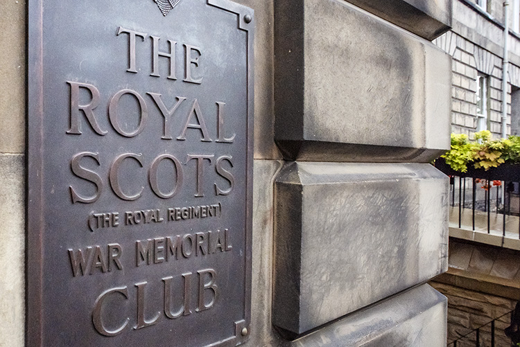 event photography at Royal Scots Club Edinburgh entrance and sign