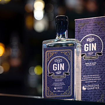 PR photography, 1505 gin bottle and box on the bar at surgeons quarter