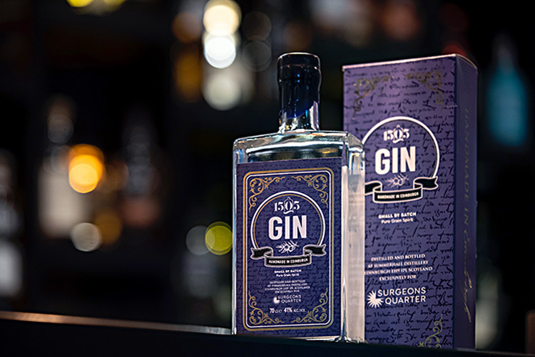PR photography, 1505 gin bottle and box on the bar at surgeons quarter, still life photography edinburgh