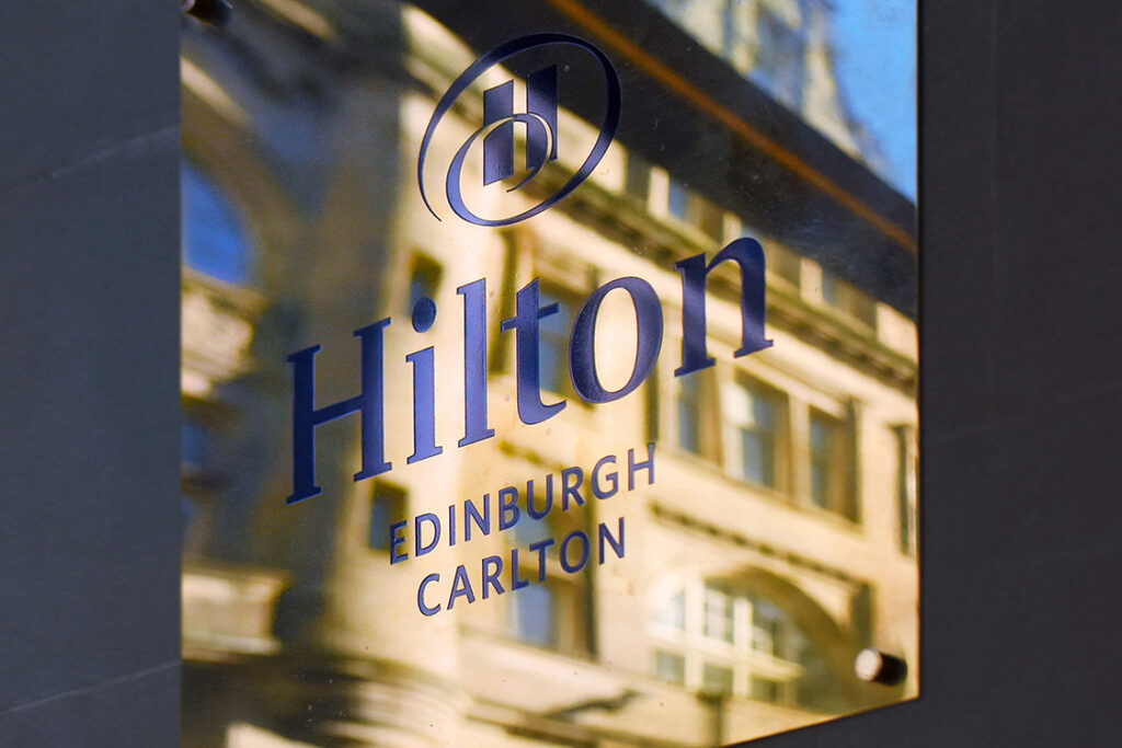 Hilton Sign at the Carlton Hilton Hotel Edinburgh. An Edinburgh Chamber of Commerce event at the Carlton Hilton Hotel Edinburgh with David Horne, MD LNER.
