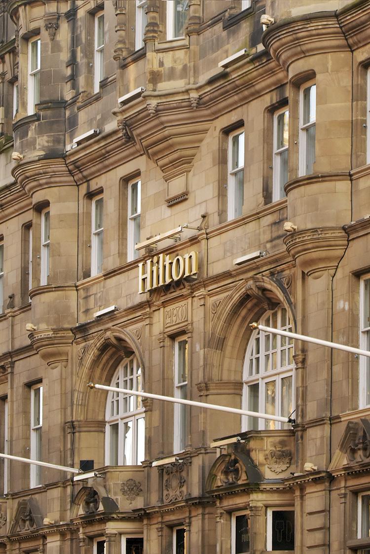 Hilton Sign at the Carlton Hilton Hotel Edinburgh. An Edinburgh Chamber of Commerce event at the Carlton Hilton Hotel Edinburgh with David Horne, MD LNER.