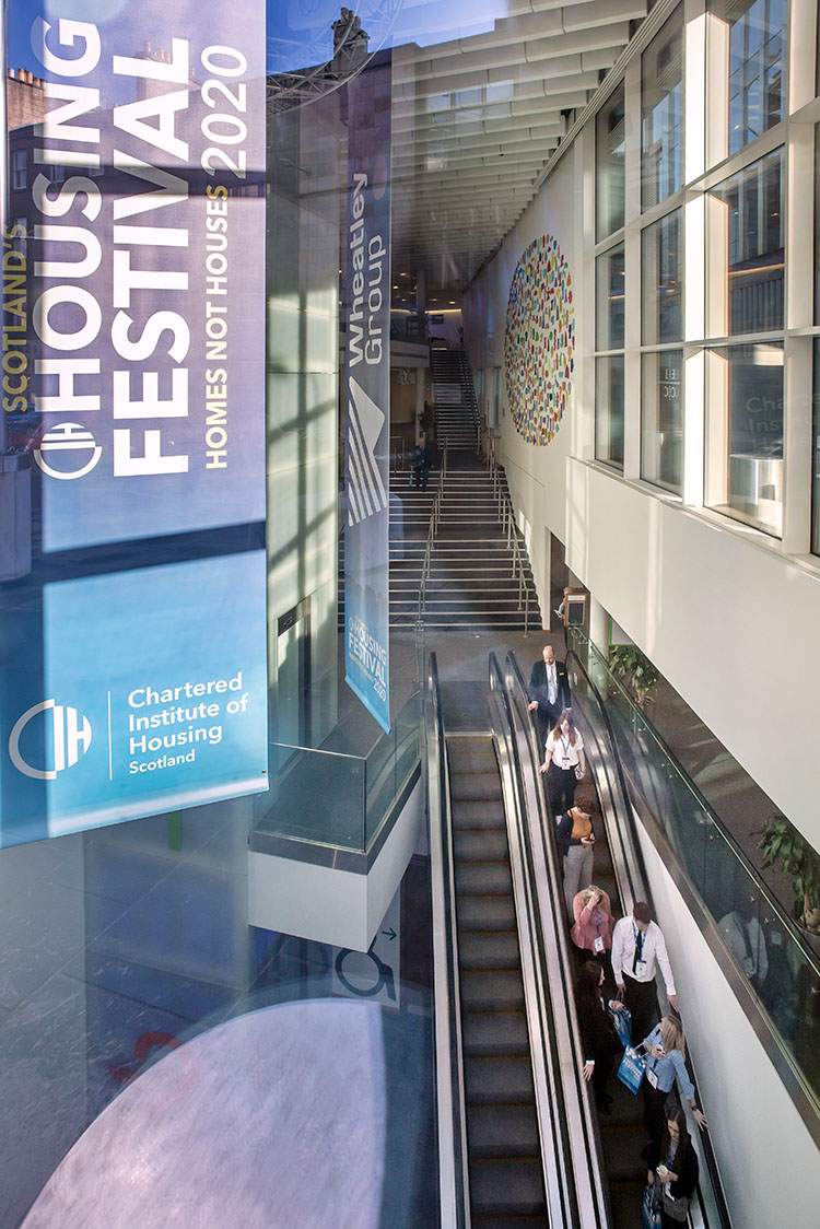 Edinburgh International Conference Centre Atrium and CIH Banner, event photography in Edinburgh