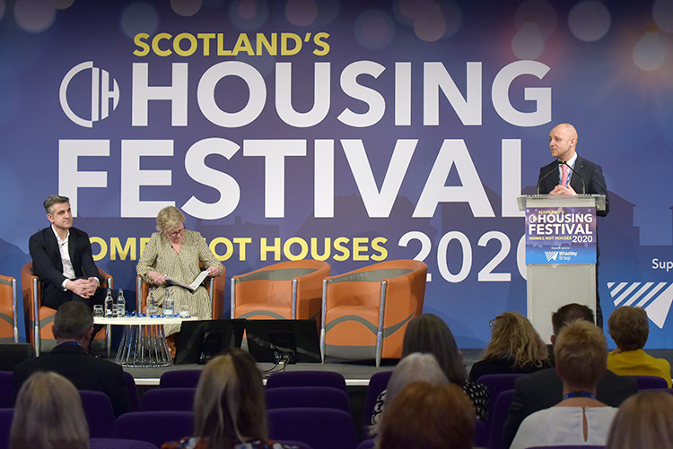 Callum Chomczuk talking at the Chartered Institute of Housing Festival 2020 at the EICC. Event photography at the EICC.