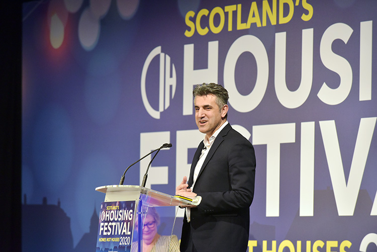 Sabir Zazai talking at the Chartered Institute of Housing Festival 2020 at the EICC. Event photography at the EICC.
