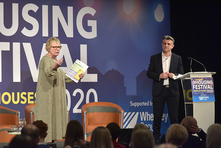 Penny Tailor and Sabir Zazai talking at the Chartered Institute of Housing Festival 2020 at the EICC. Event photography at the EICC.
