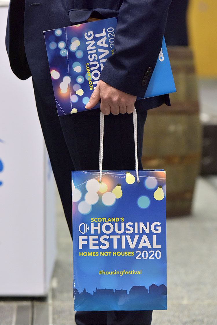 festival bags, the Chartered Institute of Housing Festival 2020 at the EICC. Event photography at the EICC.