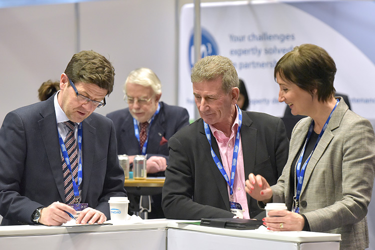 Tom Barclay Group Director of Property and Development at the Wheatley Group. exhibitors stands, the Chartered Institute of Housing Festival 2020 at the EICC. Event photography at the EICC.