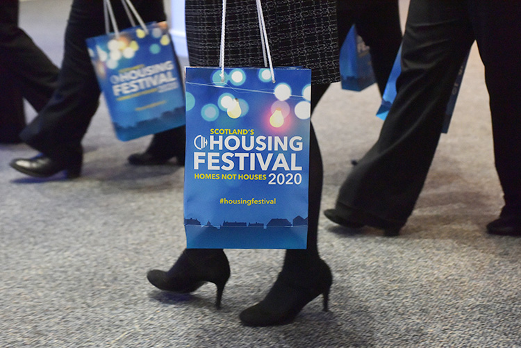 CIH branded bag, The Chartered Institute of Housing Festival 2020 at the EICC. Event photography at the EICC.