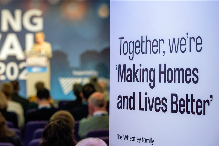 Wheatley Group banner at the CIH Housing Festival 2020.