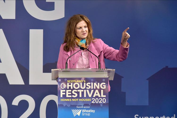 Barbara Steenbergen, representative, International Union of Tenants at the CIH Housing Festival 2020. Held at the Edinburgh Internatinal Conference Centre.