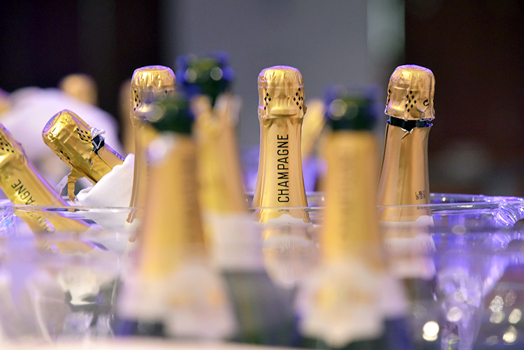 Edinburgh Chamber of Commerce Business champagne bottles at EICC, Awards 2020, event photography at EICC