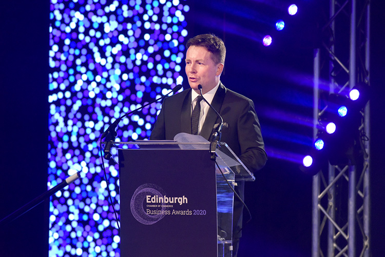 David Tanner event host, Edinburgh Chamber of Commerce Business Awards 2020, event photography at EICC