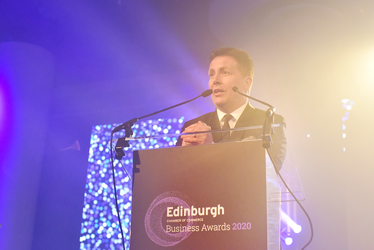 David Tanner event host, Edinburgh Chamber of Commerce Business Awards 2020