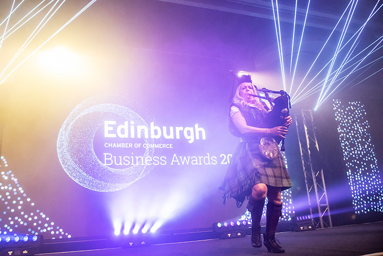 Louise Marshall Bagpiper, Edinburgh Chamber of Commerce Business Awards 2020